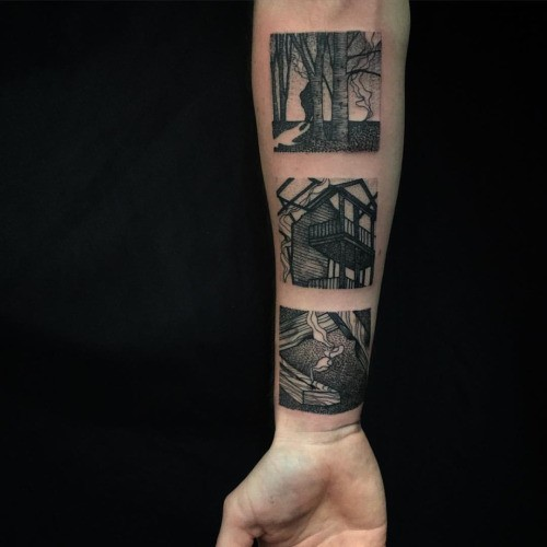 Black ink pictures like forearm tattoo of house
