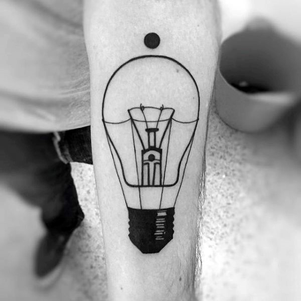 Black ink realism style forearm tattoo of bulb with black dot