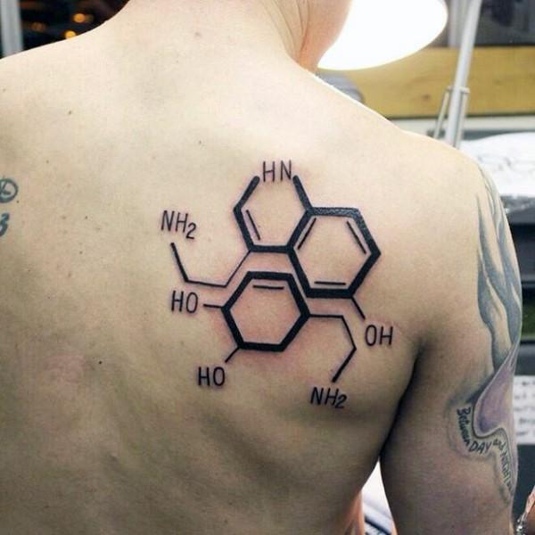 Black ink scapular tattoo of chemistry formula