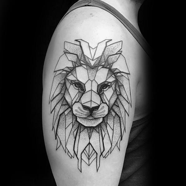 Black ink shoulder tattoo of lion head