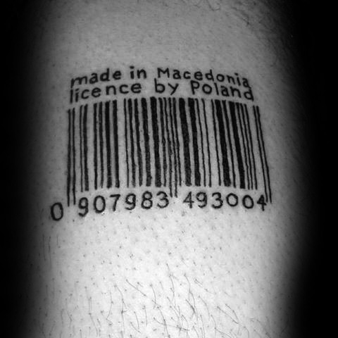 Black ink simple tattoo of barcode