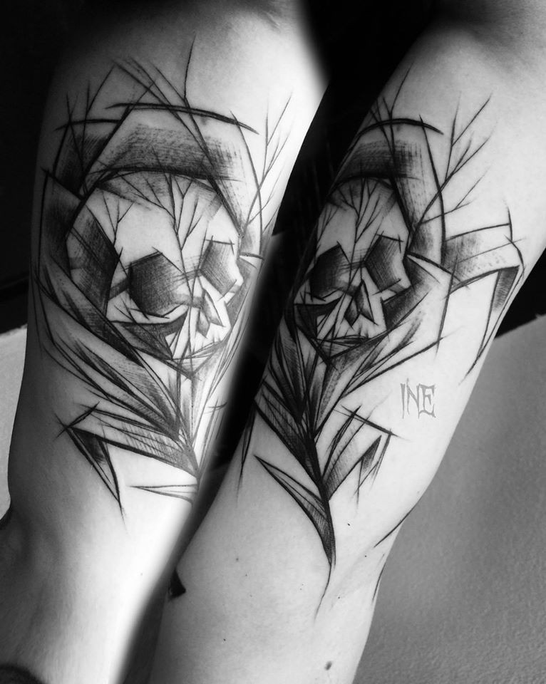 Black ink sketch style arm tattoo of human skeleton