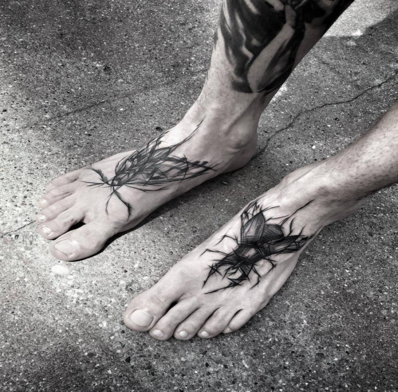 Black ink sketch style feet tattoo of various bugs