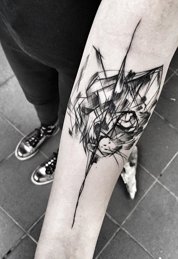 black ink sketch style forearm tattoo of black cat by inez
