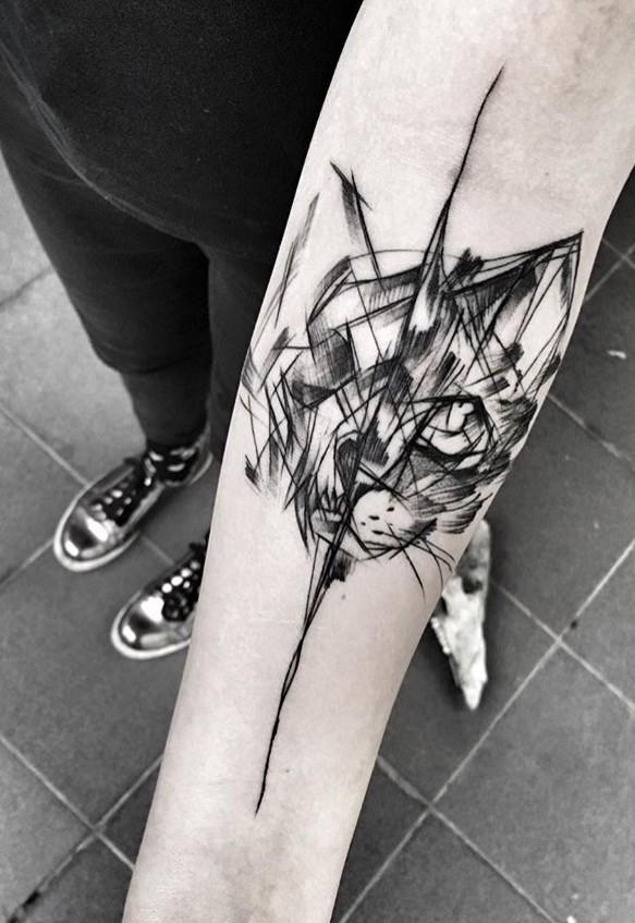 Black ink sketch style forearm tattoo of black cat by Inez Janiak