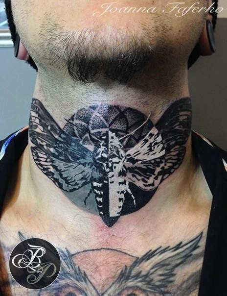 Black ink small neck tattoo of night butterfly