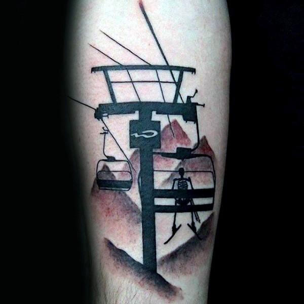 Black ink very detailed arm tattoo of skeleton