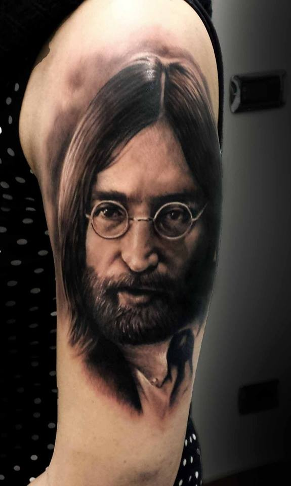 Black Ink Very Detailed Portrait Style Tattoo Of Lennon Face Tattooimages Biz