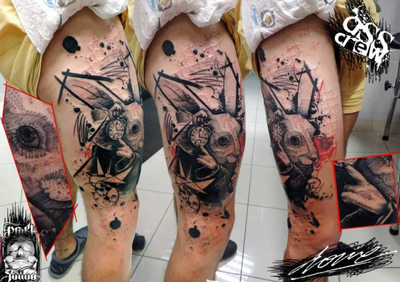 Black ink very detailed thigh tattoo fo cool rabbit with clock