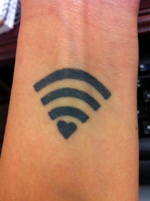 Black ink wi fi love symbol geek tattoo