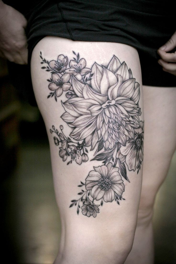 black lines dahlias and garden flowers tattoo on hip by alice kendall. Black Bedroom Furniture Sets. Home Design Ideas