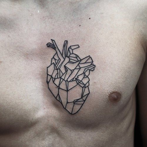 Black lines heart tattoo on chest