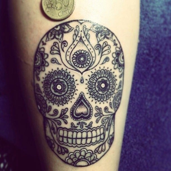Black lines sugar skull tattoo