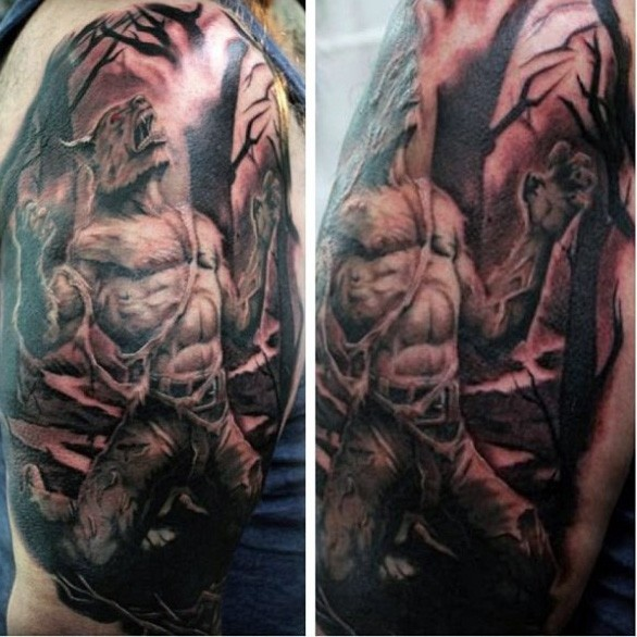Black nad gray style stunning looking werewolf transformation tattoo on shoulder