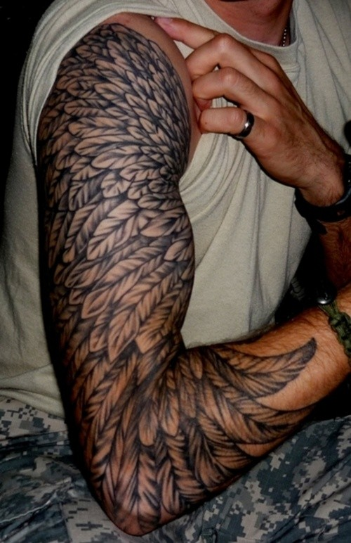 Black one wing tattoo on half sleeeve for men
