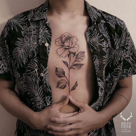 Black outline style nice looking chest tattoo of rose by Zihwa