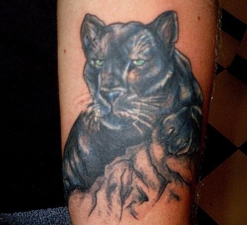 Black panther face tattoo