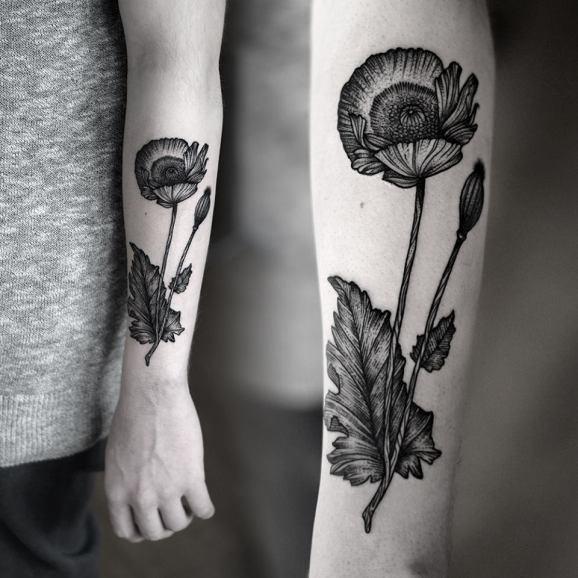 papavero nero mezza manica tatuaggio