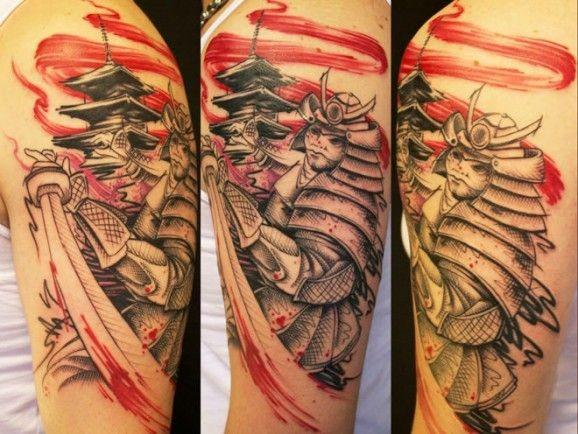 Black red samurai tattoo on half sleeve by Jacob Pedersen
