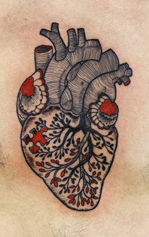 Black red tree turns into a heart tattoo
