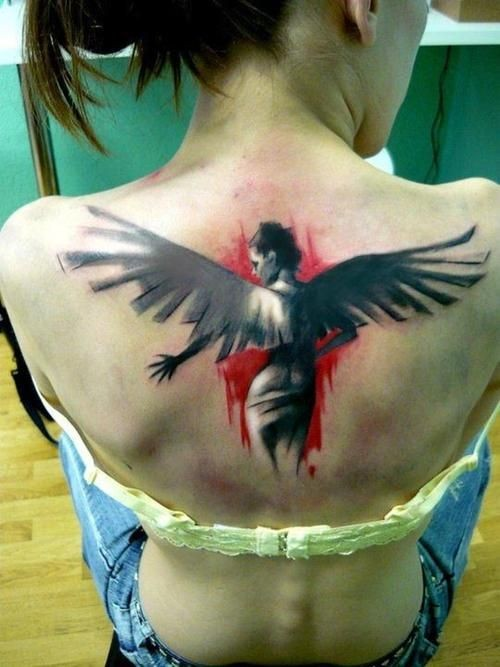 Black red women with wings tattoo on back