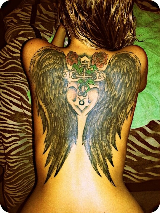 Black Wings With Red Roses And Cross Tattoo On Back Tattooimages Biz