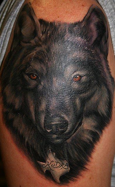 Tatuaggio sul braccio la faccia del lupo nero