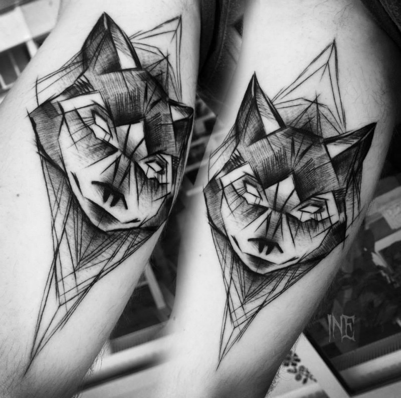 Blackwork style awesome detailed tattoo of mysterious wolf by Inez Janiak