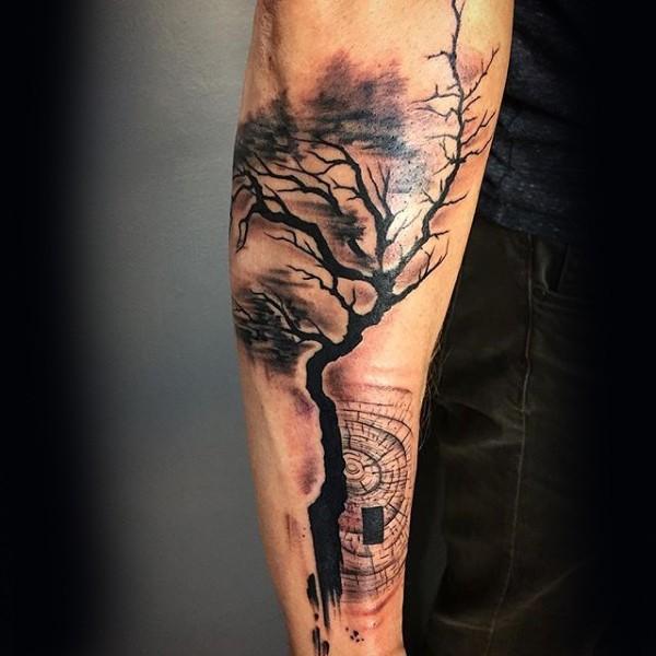 Blackwork style big creepy tree with mystical circle