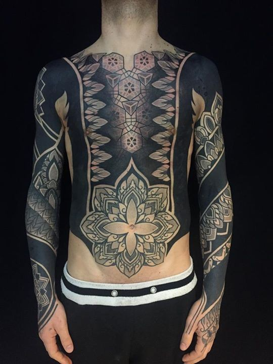 Blackwork style colored sleeve, chest and belly tattoo of various ornaments and flowers