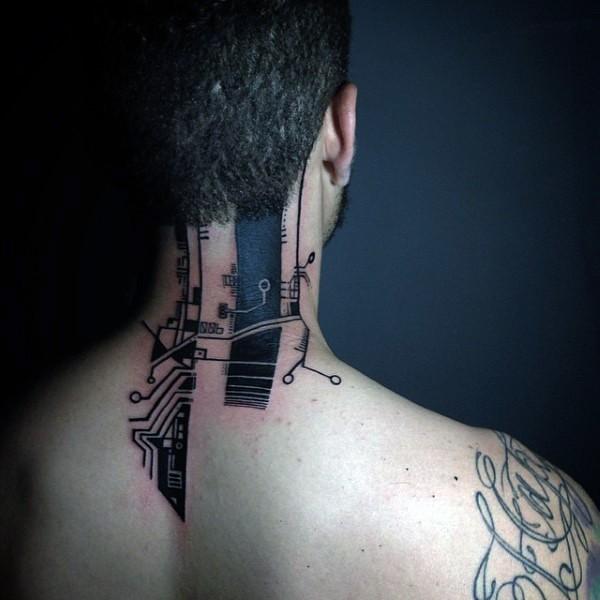 Blackwork style electronics tattoo on neck