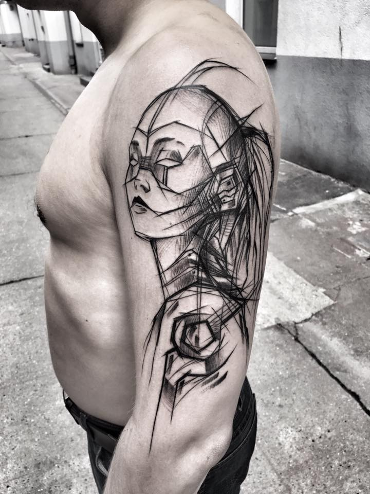 Blackwork style fantasy themed upper arm tattoo of woman robot