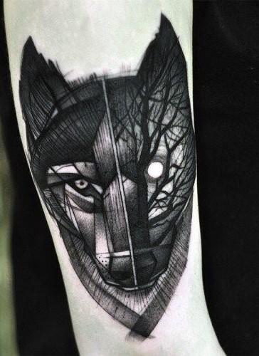 Blackwork style forearm tattoo of mystical wolf