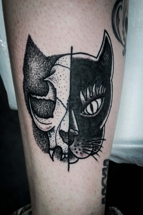 Blackwork style impressive designed cat face