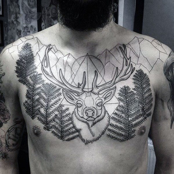 Blackwork Style Large Chest Tattoo Of Deer With Mountains