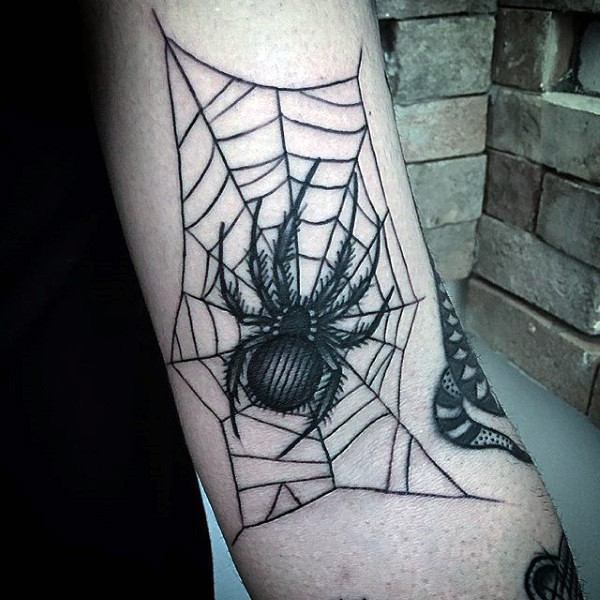 Blackwork style medium size arm tattoo of spider with web