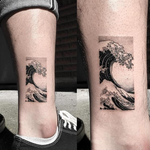 Blackwork style small ankle tattoo of ocean wave