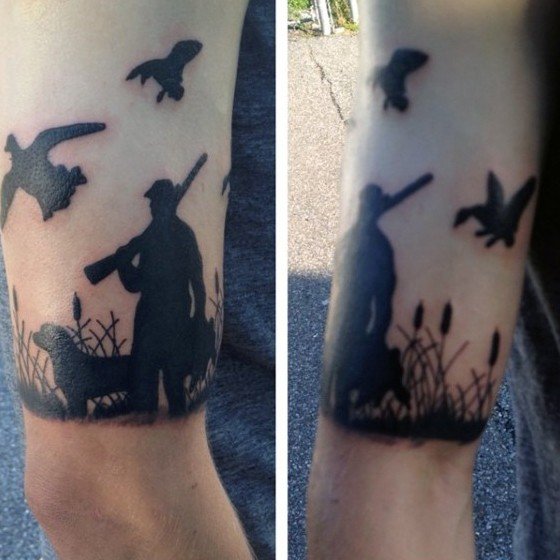 Images Pictures Tattoos Hunter: Blackwork Style Small Arm Tattoo Of Hunter With Dog And