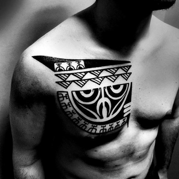 Blackwork style typical chest tattoo of Polynesian ornaments