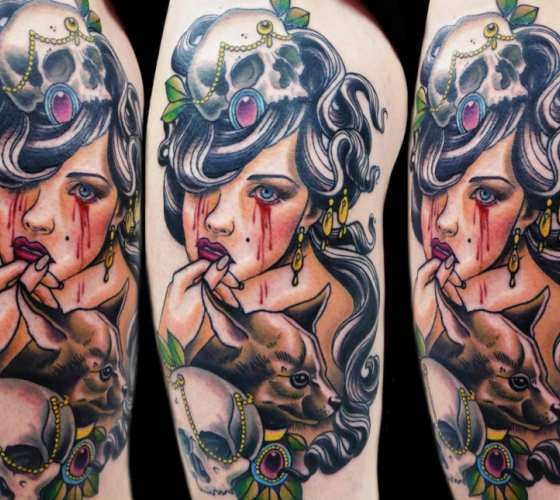 Bloody amazing looking thigh tattoo of woman with bloody tears and skull
