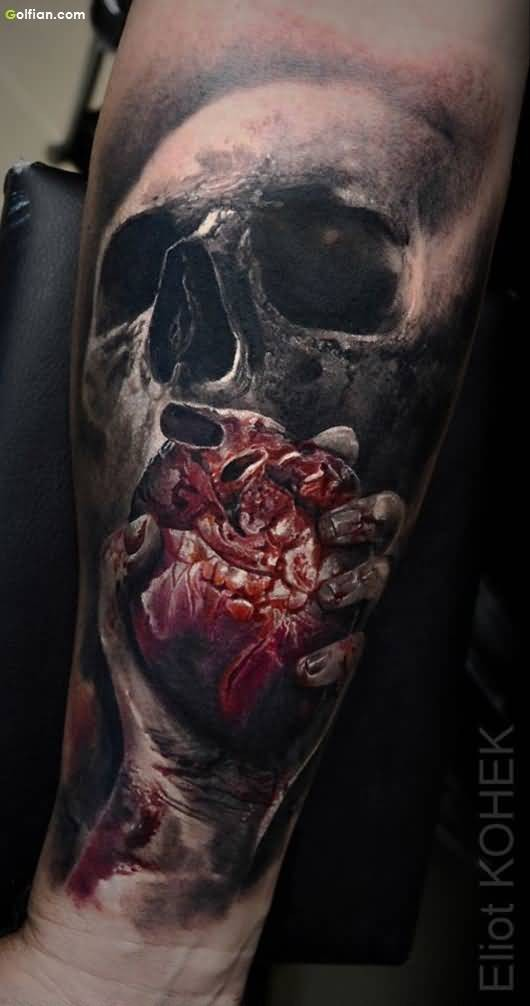 Bloody tattoo painted by Eliot Kohek of human skull with big heart