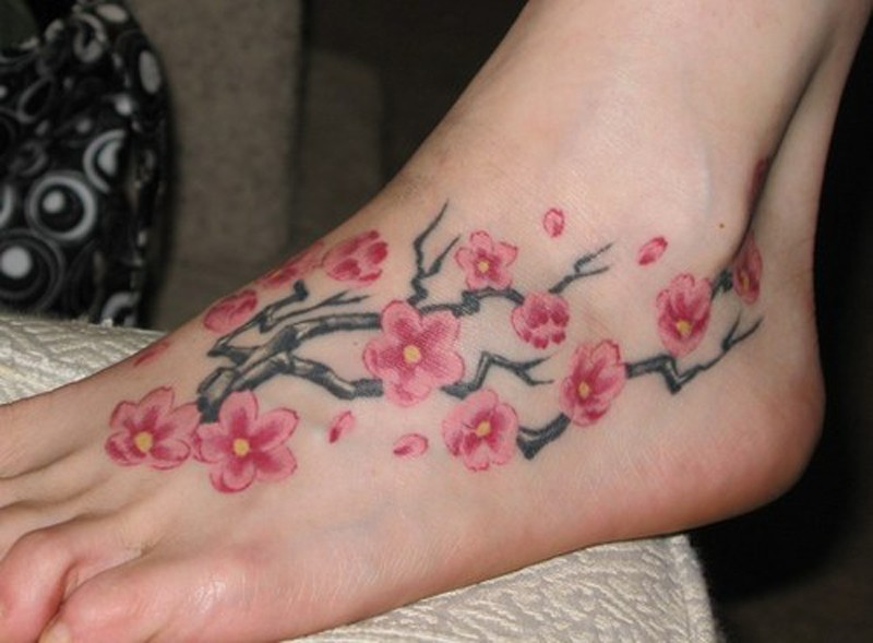 Blossom flower tattoo design for foot