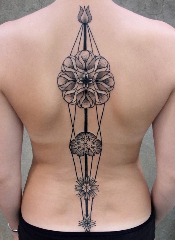 Breathtaking big accurate painted colored on whole back tattoo of various beautiful flowers