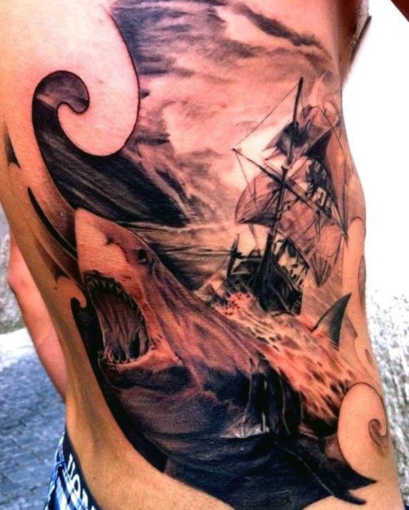 Breathtaking black and gray style side tattoo of large shark and sailing ship