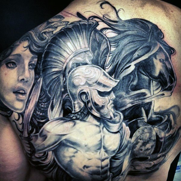 Breathtaking black and white ancient Greece God with horses tattoo on upper back