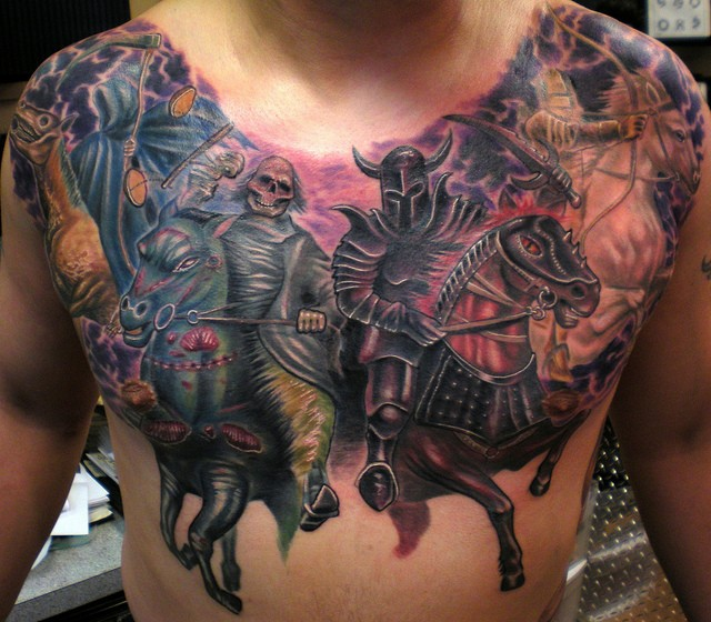 Breathtaking colored chest tattoo of death horse riders