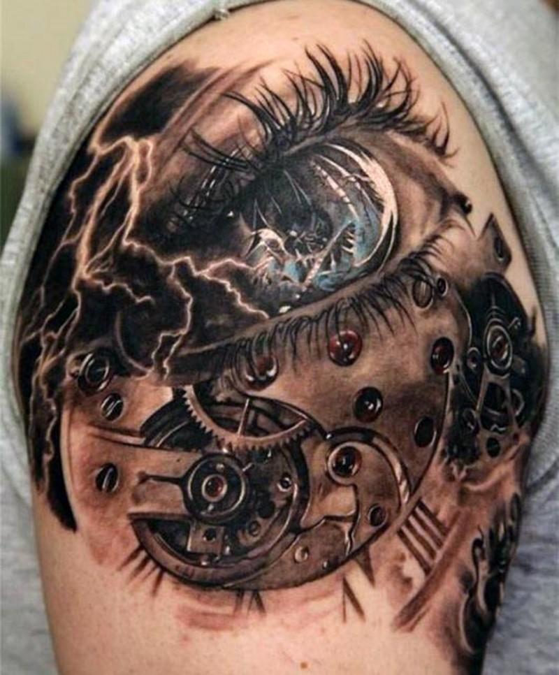 orizzontale gigante colorato bulbo oculare  3D realistico stilizzato biomeccanico con lampo tatuaggio su spalla