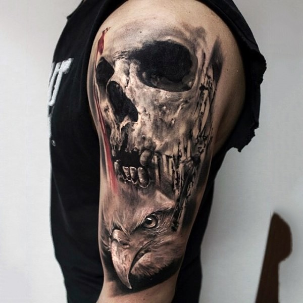 Breathtaking detailed black and white skull shoulder tattoo with eagle head