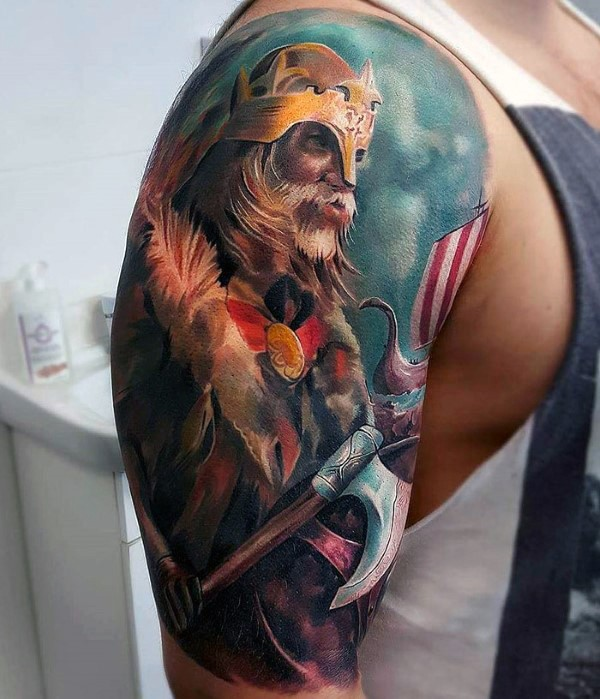 Breathtaking Illustrative style colorful shoulder tattoo fo fantasy medieval warrior with axe and ship