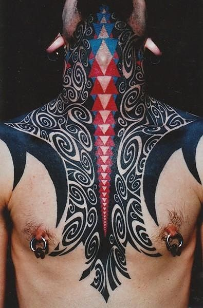 Breathtaking multicolored tribal ornaments tattoo on neck and chest